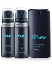 [Natura] Frete Grátis - Kit Natura Homem - Desodorante Spray + 2 Aerosol - R$ 38