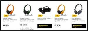 [Saraiva] Fone de Ouvido - Headphone Linha Uprock - Sgurfz-086 - Laranja por R$ 48