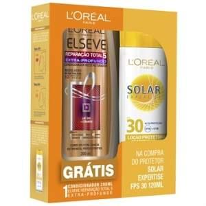[EFACIL] Protetor Solar Expertise Fator 30 - 120ml (Grátis Condicionador Reparação Total 5) - L'oréal POR R$ 14
