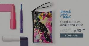[Natura]  Combo Faces Azul para Você - Batom FPS8 + Minilápis + Bolsa-carteira por R$ 50