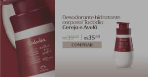 [Natura] Desodorante Hidratante Corporal Cereja e Avelã Tododia Pele Extrasseca - 400ml R$ 35,60