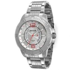 [RICARDO ELETRO] Relógio Masculino Analógico com Calendário Seculus, Pulseira de Aço Prateado, Caixa de 5,1 cm, Resistente à Água 10 ATM - 20270G0SVNA1 - R$90