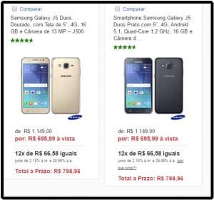 """[Fast Shop]  Samsung Galaxy J5 Duos Dourado/Preto, com Tela de 5"""", 4G, 16 GB e Câmera de 13 MP – J500 por R$ 696"""