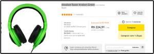 [Saraiva] Headset Razer Kraken Green por R$ 225