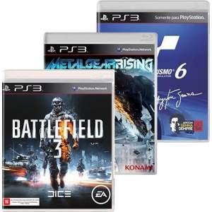 [Americanas] Kit com 3 jogos: Battlefield 3 + Gran Turismo 6 + Metal Gear Rising para PS3 - R$57
