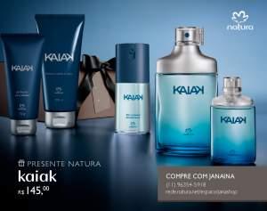 [Natura] Presente Natura Kaiak - Desodorante Colônia + Deo Corporal + Shampoo + Gel Fixador + Embalagem R$ 145,00