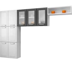 [EFACIL]  Cozinha Compacta Luce 9 portas de Aço Branco/Grafite - Itatiaia POR R$ 408