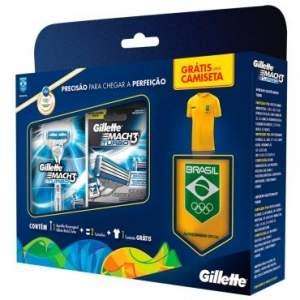 [RICARDO ELETRO] Kit Gillette Mach3 Turbo Olimpiadas: 1 aparelho Mach3 Turbo + Carga com 2 unidades. Grátis 1 camiseta das Olimpiadas - $22