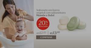 [Natura] Sabonete em Barra Vegetal com Saboneteira Mamãe Bebê - 100g R$ 13,80