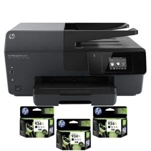 [EFACIL] Multifuncional Officejet Pro 6830 AIO Fax WiFi + 3 Cartuchos 934XL Preto Bivolt - HP POR R$ 529