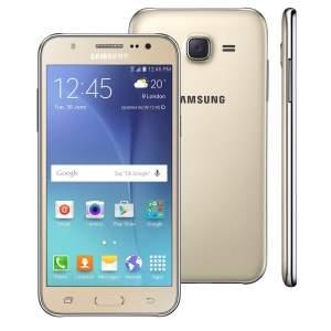 """[Casas Bahia] Smartphone Samsung Galaxy J5 Duos Dourado com Dual chip, Tela 5.0"""", 4G, Câmera 13MP, Android 5.1 e Processador Quad Core de 1.2 Ghz por R$ 854"""