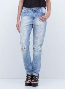 [YouCom] calça Boyfriend em jeans com rasgos - por R$50