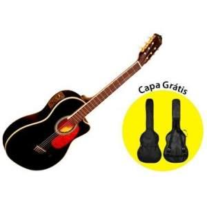 [Salfer+Ricardo] Violão Di Giorgio Havana Black II - Cordas de Nylon com Equalizador, Afinador Digital, Slim Cutway, Tensor + Capa Grátis - R$380