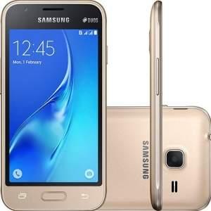 "[Sou Barato] Smartphone Samsung Galaxy J1 Mini Dual Chip Android 5.1 Tela 4"" 8GB 3G Wi-Fi Câmera 5MP - Dourado - por R$399"