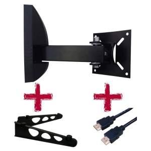 """[Ponto Frio]  Suporte Bi-Articulado de Parede Brasforma SBRP-136 para TVs LCD, LED, Plasma e 3D de 10"""" a 55"""" + Suporte DVD + Cabo HDMI - R$35"""