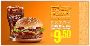 [Mc Donalds] Extra Burger Salada + Refrigerante ou Del Valle Médio, das 15h às 18h por R$ 10