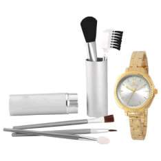 [Clube do Ricardo] Kit pincel para maquiagem +relógio feminino Allora R$ 68,00