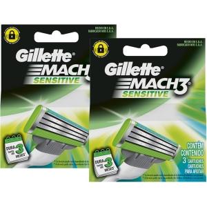 [Sou Barato] Carga Gillette Mach3 Sensitive com 6 Unidades - por R$24