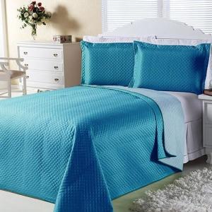 [AMERICANA] Cobre-leito Dual Color Casal com 2 Porta-travesseiros Azul Turqueza e Azul Claro Orb-  R$ 63
