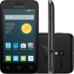 """[SOUBARATO] Smartphone Alcatel PIXI 3 Dual Chip Desbloqueado Android 4.4 Tela 3.5"""" Memória 4GB Câmera 5MP - Preto POR R$234"""
