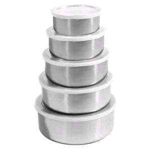 [Ricardo Eletro] Conjunto de Potes Inox com Tampas 5 peças - R$ 18