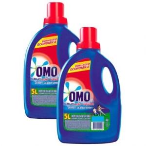 [Ricardo Eletro] LEVE + PAGUE - : Kit Promocional 2 unidades -Detergente Líquido 5L - OMO MULTIAÇÃO COM PODER ACELERADOR por R$ 63