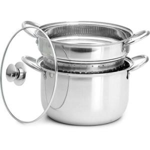 [Americanas] - Espagueteira Inox c/ Tampa de Vidro 22cm - 3 Peças - Classic Home
