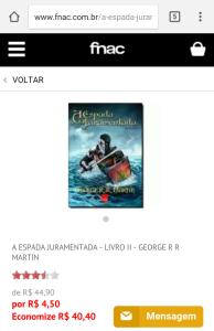 [Fnac] A ESPADA JURAMENTADA - LIVRO II - GEORGE R R MARTIN por R$ 5