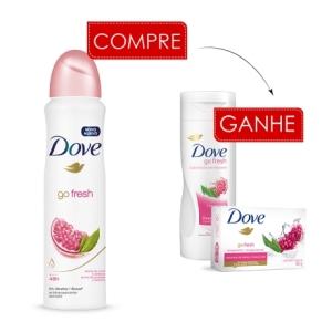 [Lojas REDE] Lançamento Dove Romã - Compre Desodorante Aerosol Ganhe Loção e Sabonete + Promo 50%OFF no frete