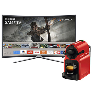 """[EFACIL] Smart TV 40"""" LED Full HD Tela Curva UN40K6500 Samsung + Cafeteira Expresso Inissia 110V Nespresso POR R$ 2279"""