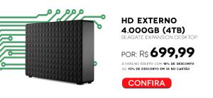 [WAZ] HD Externo Seagate 4TB USB 3.0 - R$ 699,99
