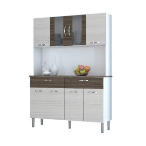 [Carrefour] Kit de Cozinha Kits Paraná 8 Portas Pan em MDP Cinza claro e Marrom por R$ 300