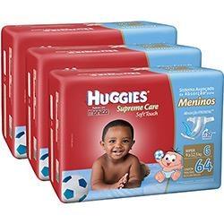 [Americanas] 3 Fraldas Huggies Menino/Menina (M, G, XG, XXG) - R$118