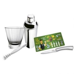 [RICARDO ELETRO] Kit Caipirinha 5 peças: Coqueteleira e Faca em Aço Inox, incluso Copo, Tábua e Socador - Bartender - Euro - 53,91
