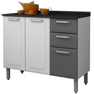 [EFACIL] Balcão de Cozinha Luce de Aço c/ 3 Portas e 2 Gavetas Branco/Grafite Itatiaiapor R$ 362