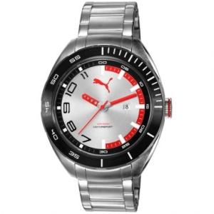[RICARDO ELETRO] Relógio Masculino Puma, Analógico, Pulseira de Aço, Caixa de 5 cm, Resistente à Água 100M ATM - 96256G0PSNA3 - R$153