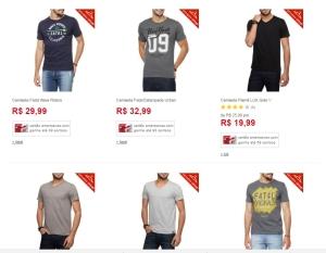 [Americanas] 5 camisetas masculinas - por R$100