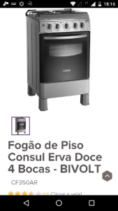 [RICARDO ELETRO] Fogão de Piso Consul Erva Doce 4 Bocas - CF350AR - Loja