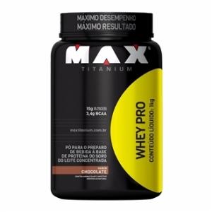 [Best Plus] WHEY PRO 1KG MAX TITANIUM - CHOCOLATE (POTE) por R$ 55