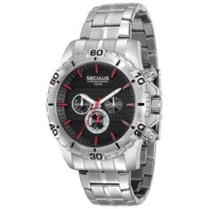 [Ricardo Eletro] - Relógio Masculino Cronógrafo Seculus, Pulseira de Aço Prateada, Caixa de 4,8 cm, Resistente à Água 10 ATM