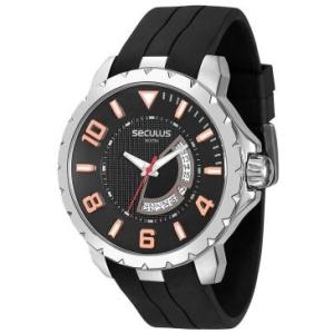 [RICARDOELETRO] Relógio Masculino Seculus, Analógico, Pulseira de Aço, Caixa de 5,2 cm, Resistente à Água 5 ATM - 20242G0SVNU1