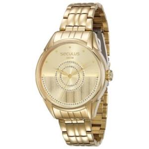 [RICARDOELETRO] Relógio Feminino Seculus, Analógico, Pulseira de Aço, Caixa de 4,4 cm, Resistente à Água 5 ATM - 28651LPSVDA1