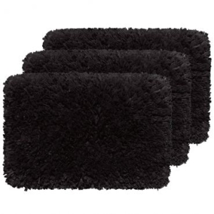 [RICARDO ELETRO] Kit 3 Tapetes Para o Quarto: 45X70cm, Super Soft, Retangulares, Maior Maciez com Fibras Longas e Face Única, Artesanal Decor Black - Aroeira - R$30