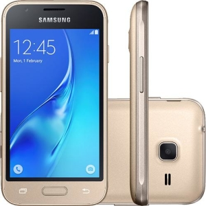 "Smartphone Samsung Galaxy J1 Mini Dual Chip Android 5.1 Tela 4"" 8GB 4G Wi-Fi Câmera 5MP - Dourado"