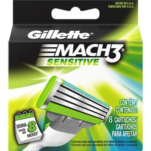 [Sou Barato] Carga para Aparelho de Barbear Gillette Mach3 Sensitive - 8 Unidades