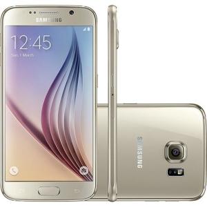 """Samsung Galaxy S6 32GB 4G Android 5.0 Tela 5.1"""" Câmera 16MP - Dourado  por R$ 1580"""