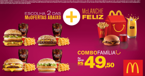 [Mc Donalds] Combo Família - 2 Mc Ofertas Médias + 1 McLanche Feliz por R$ 50