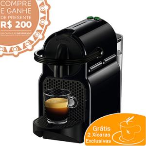 Cafeteira Expresso Inissia Preta Grátis Par de Xícaras - Nespresso por R$278