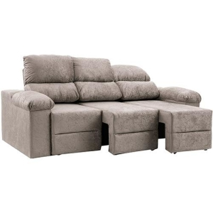 Sofá 3 Lugares Reclinável e Assento Retrátil Ripley Plus Ultrasuede Amassado - 3 Cores Disponíveis