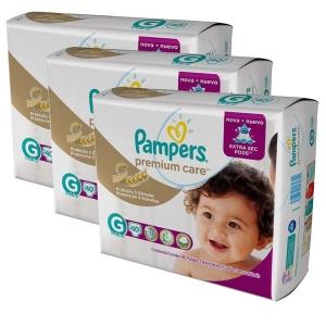 Fralda Pampers Premium Cares com 120 Unidades Tamanho G por R$130